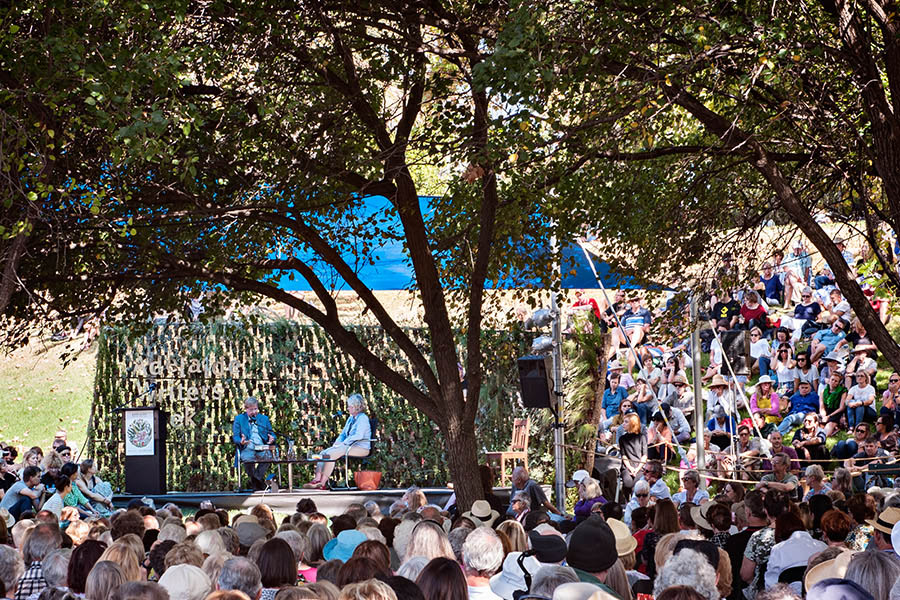Crowds gather around the East Stage at Adelaide Writers' Week.