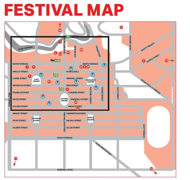 Festival Map of Adelaide with venues and carparks highlighted